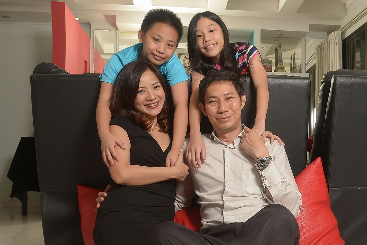 Ms Ginny-Ann Oh (with her husband Loong Yong Boon and children Darius and Sophia) spends four days a week meeting her extended family, so she can spend time with everyone.