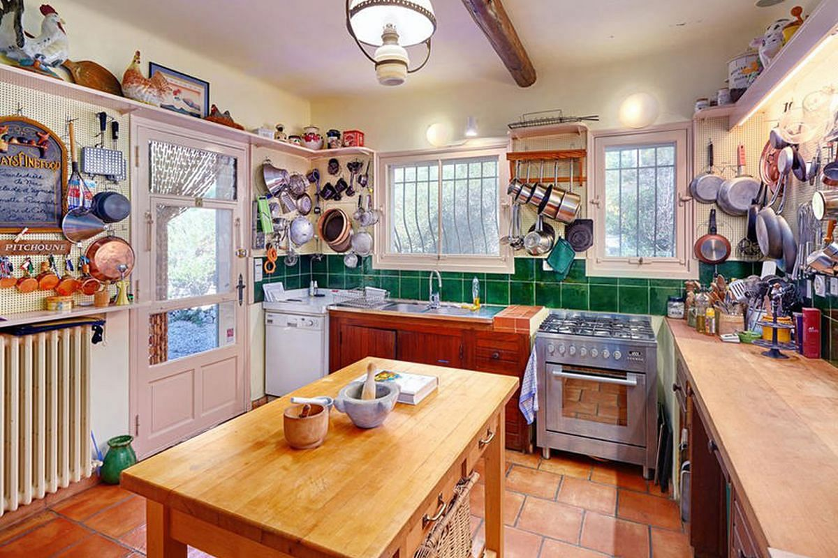 The kitchen looks exactly as Julia Child left it.