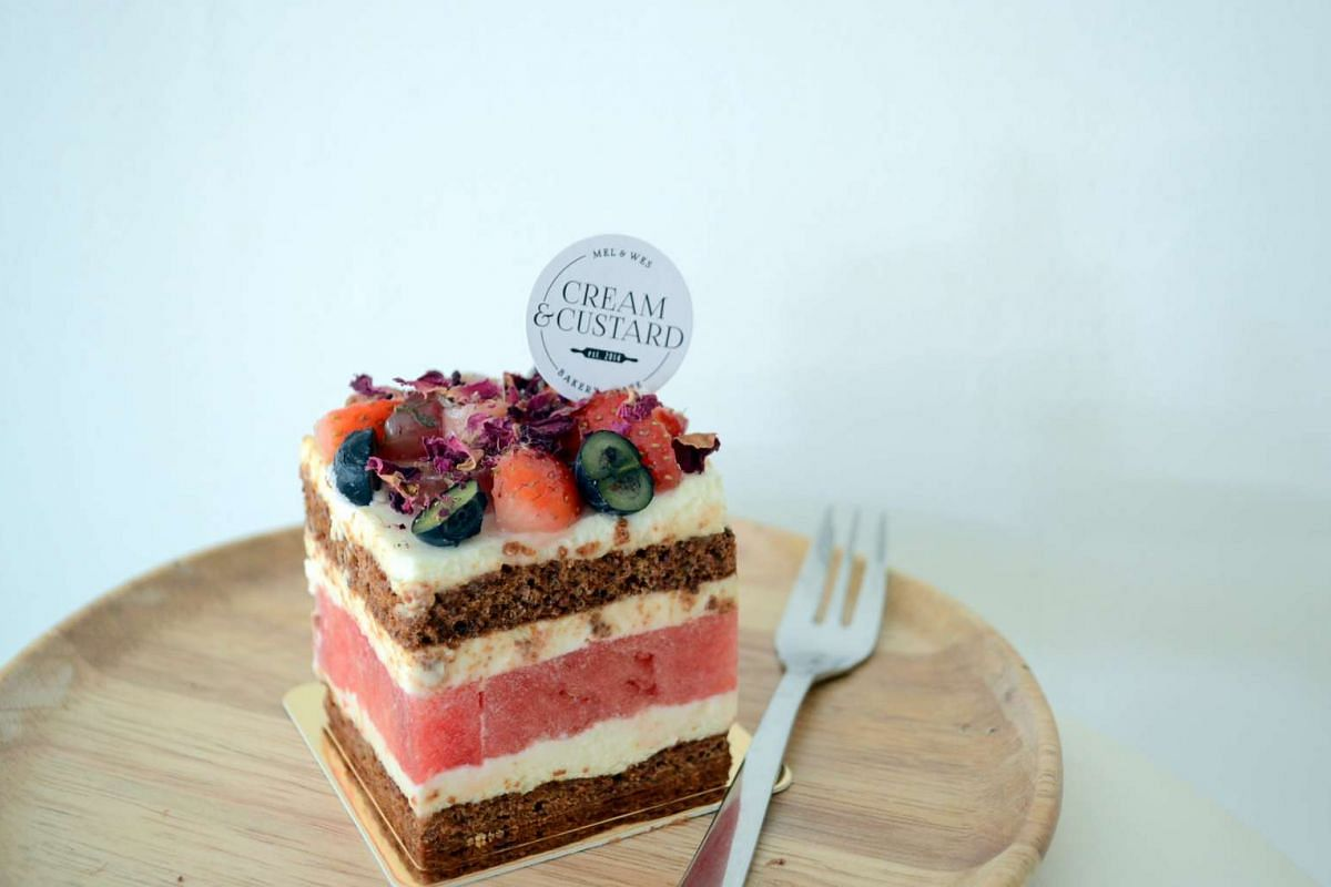 Watermelon Strawberry Cake by Cream & Custard