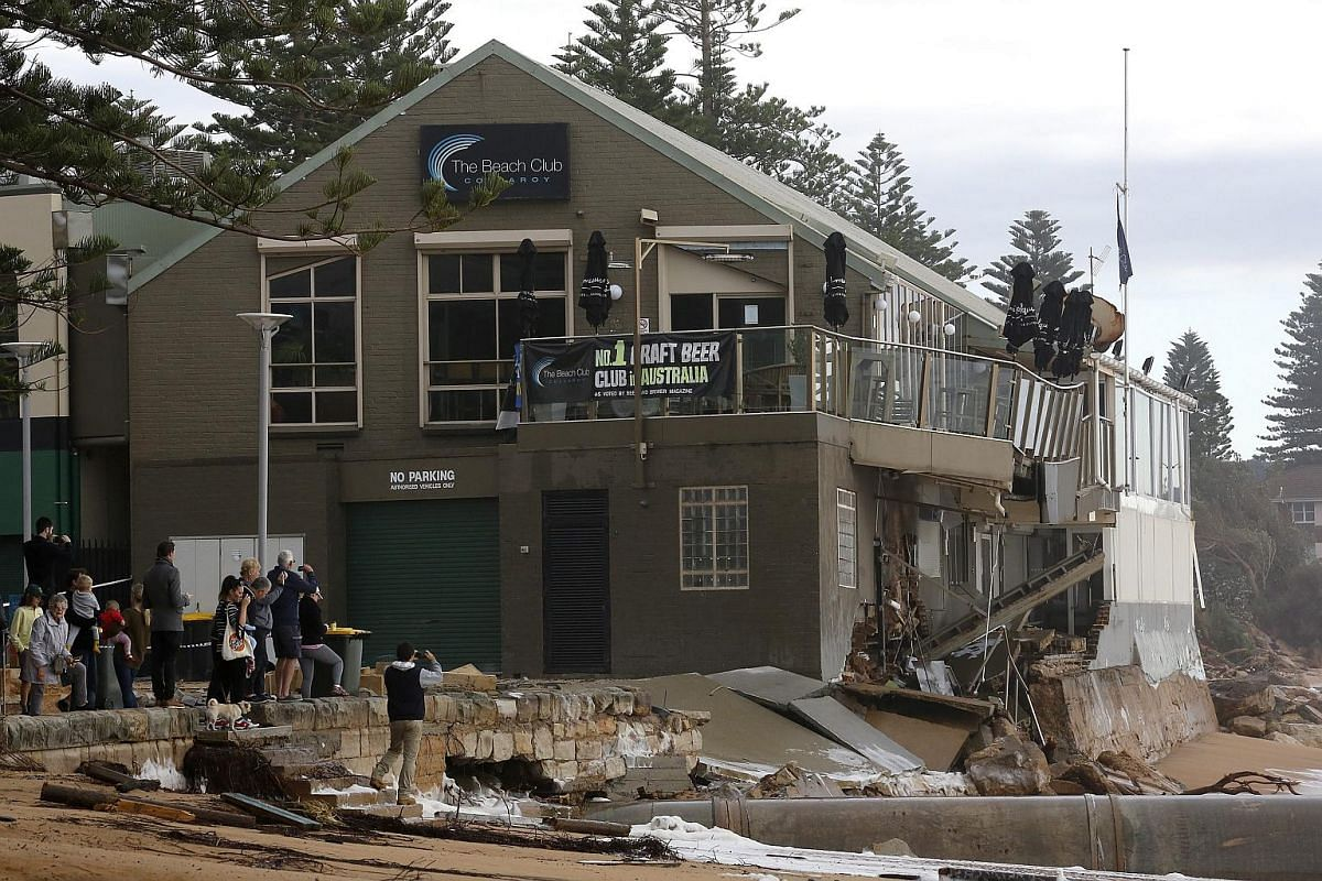 Damage to The Beach Club in Collaroy in Sydney's Northern Beaches, NSW, Australia, on June 6, caused by heavy rain and storms.
