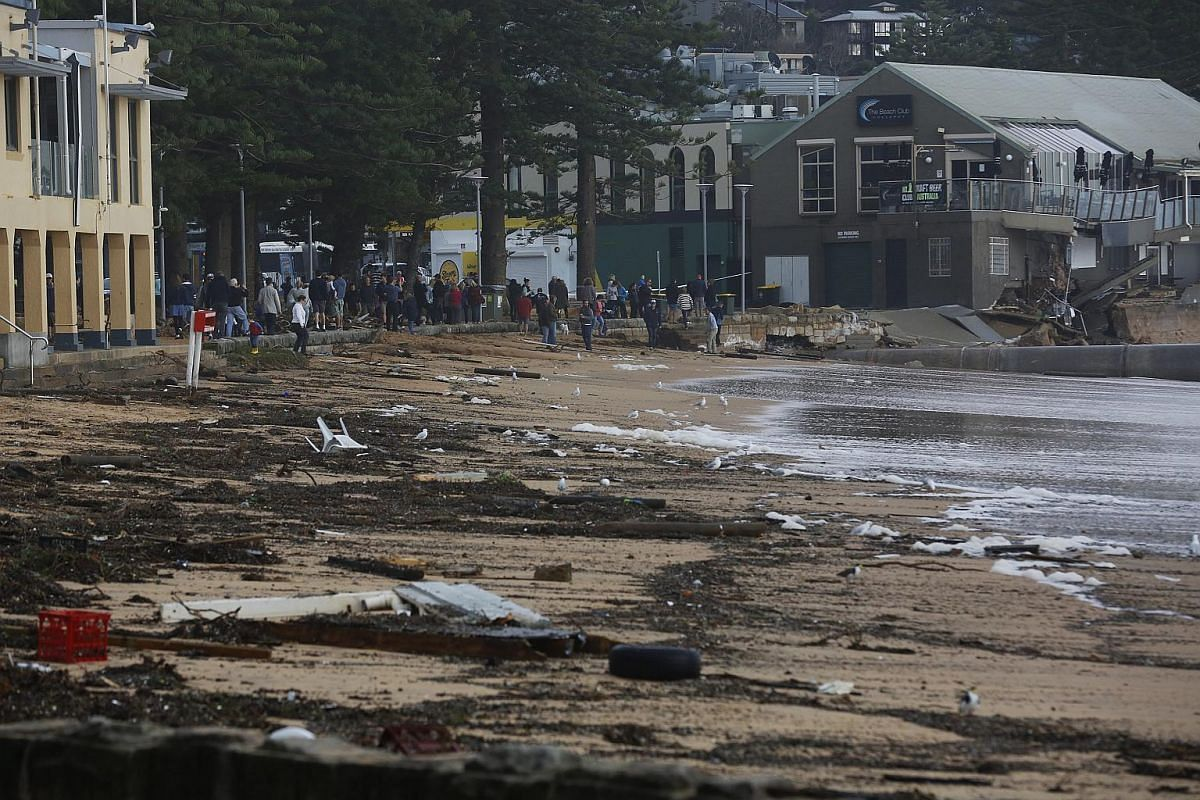 Damage caused by heavy rain and storms to The Beach Club in Collaroy in Sydney's Northern Beaches, NSW, Australia, on June 6.