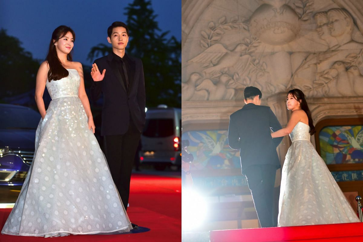 South Korean actor Song Joong-Ki and actress Song Hye-Kyo pose for a photo call on the red carpet of the 52nd annual BaekSang Art Awards in Seoul on June 3.