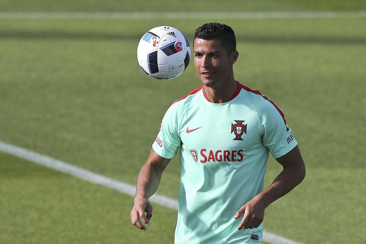 Portugal's Cristiano Ronaldo during a training session in Oeiras, on the outskirts of Lisbon, on June 5, 2016.