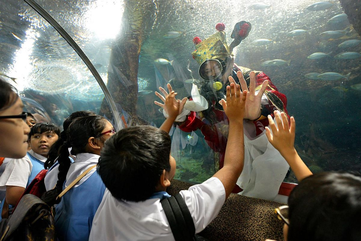 Students from Assumption Pathway and Keming Primary schools were greeted by a scuba-diving God of Fortune at Underwater World Singapore to usher in the Chinese New Year in 2013.