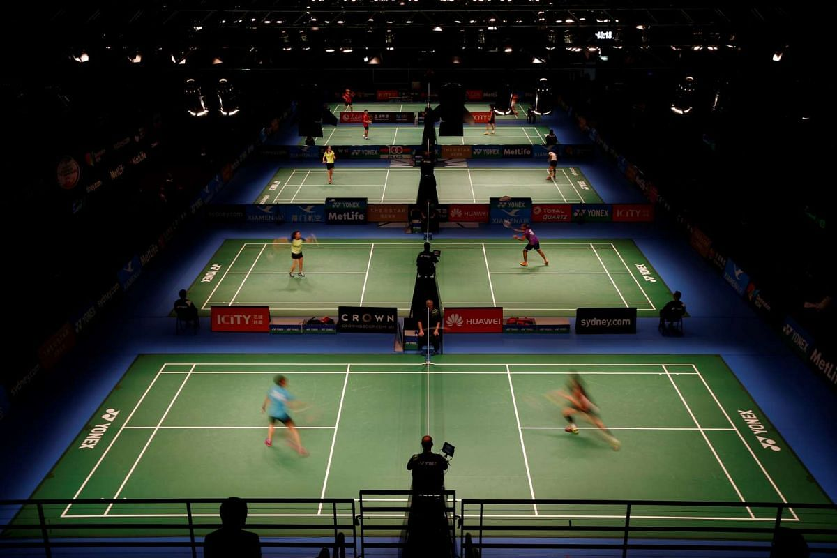 Athletes compete in the first round of the Australian Badminton Open in Sydney, Australia on June 8, 2016.