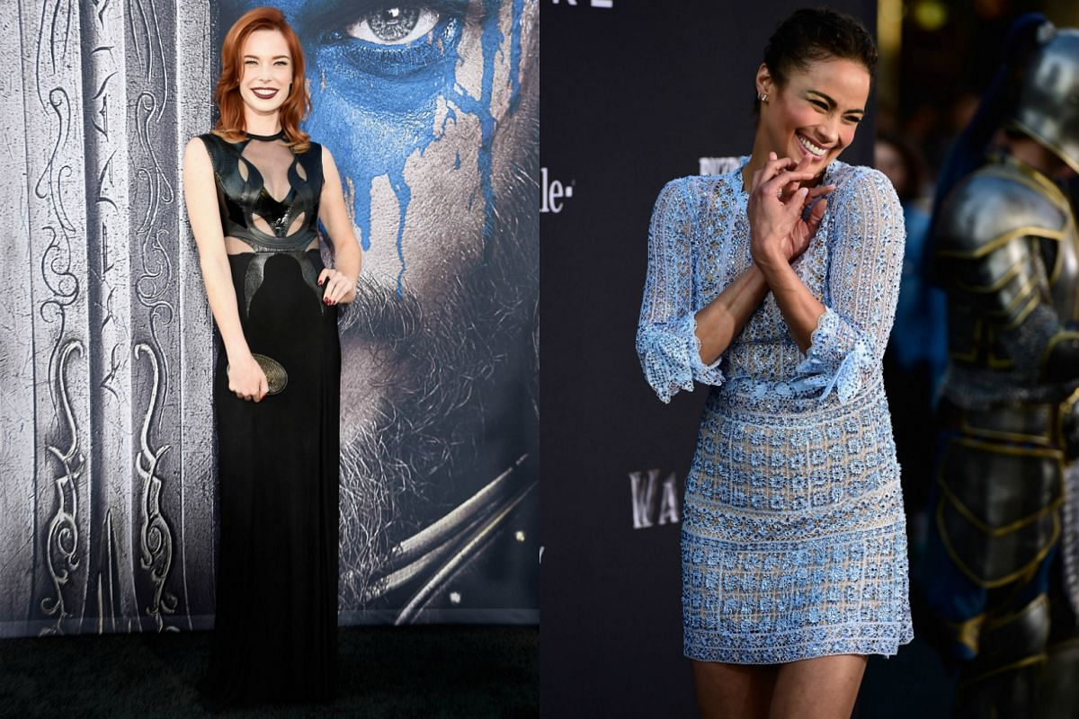 Actresses Chloe Dykstra and Paula Patton opt for casual glam on the Warcraft red carpet.