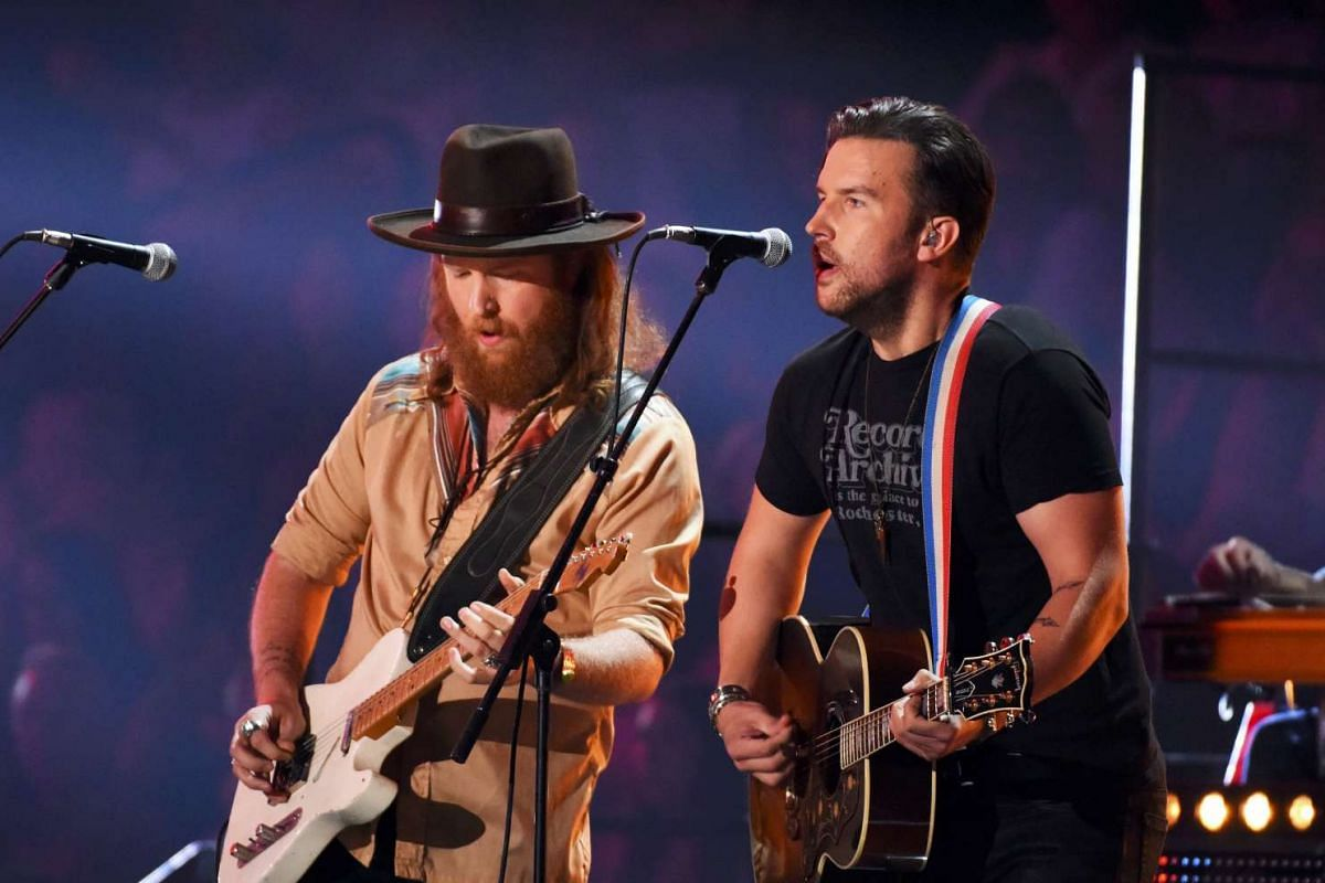 The group Brothers Osborne perform Stay a Little Closer during the 2016 CMT Music Awards in Nashville, Tennessee US on June 8.