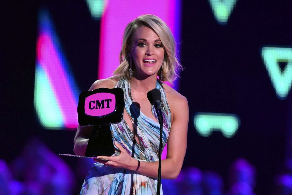 Singer Carrie Underwood accepts the award for Female Video of the Year for Smoke Break during the 2016 CMT Music Awards in Nashville, Tennessee US on June 8.