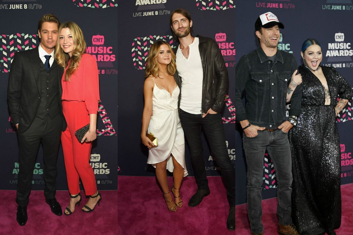 (From left) Actor Chad Michael Murray and actress Sarah Roemer, musicians Maren Morris and Ryan Hurd, and singers Dierks Bentley and Elle King arrive at the 2016 CMT Music Awards in Nashville, Tennessee US on June 8.