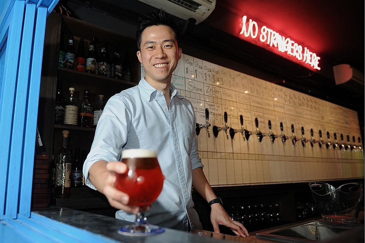 Mr Manbeer Singh, who opened 3rd Culture Brewing Co, offers five types of beer on tap. Mr Kasster Soh, co-founder of Freehouse, which offers 16 craft beers on rotation and an extensive bottle list from all over the world. Ms Corrine Chia (left) and h