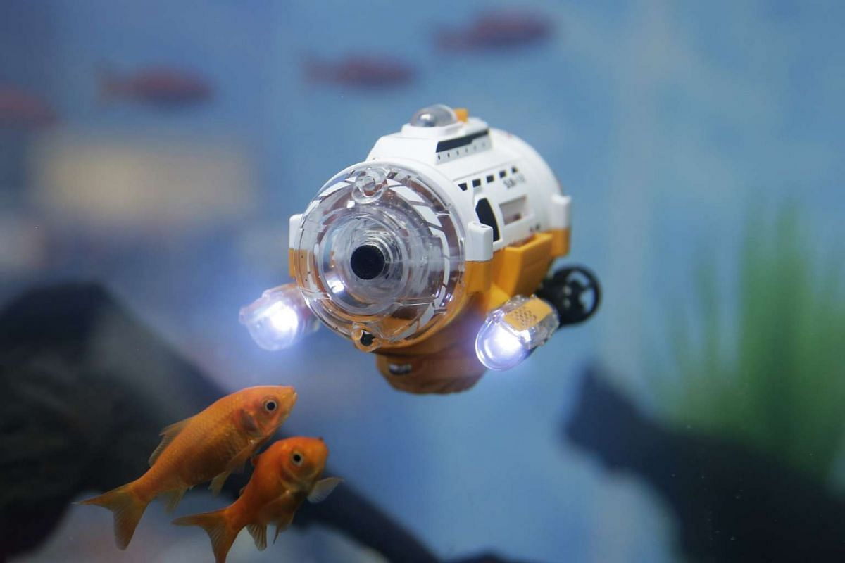 CCP's IR Control Submariner Camera is operated in a tank during a demonstration at the International Tokyo Toy Show in Tokyo, Japan on June 9, 2016.