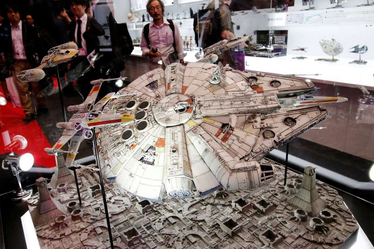 Bandai's 1/72 scale plastic model of the Millennium Falcon from Star Wars is displayed at the International Tokyo Toy Show in Tokyo, Japan on June 9, 2016.