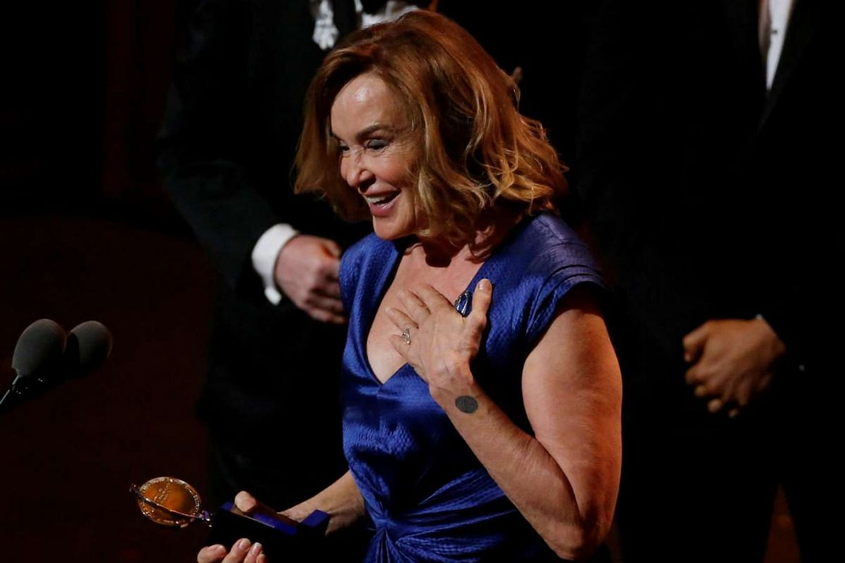 Jessica Lange accepts the award for best performance by an actress in a leading role for a play for Long Day's Journey Into Night.