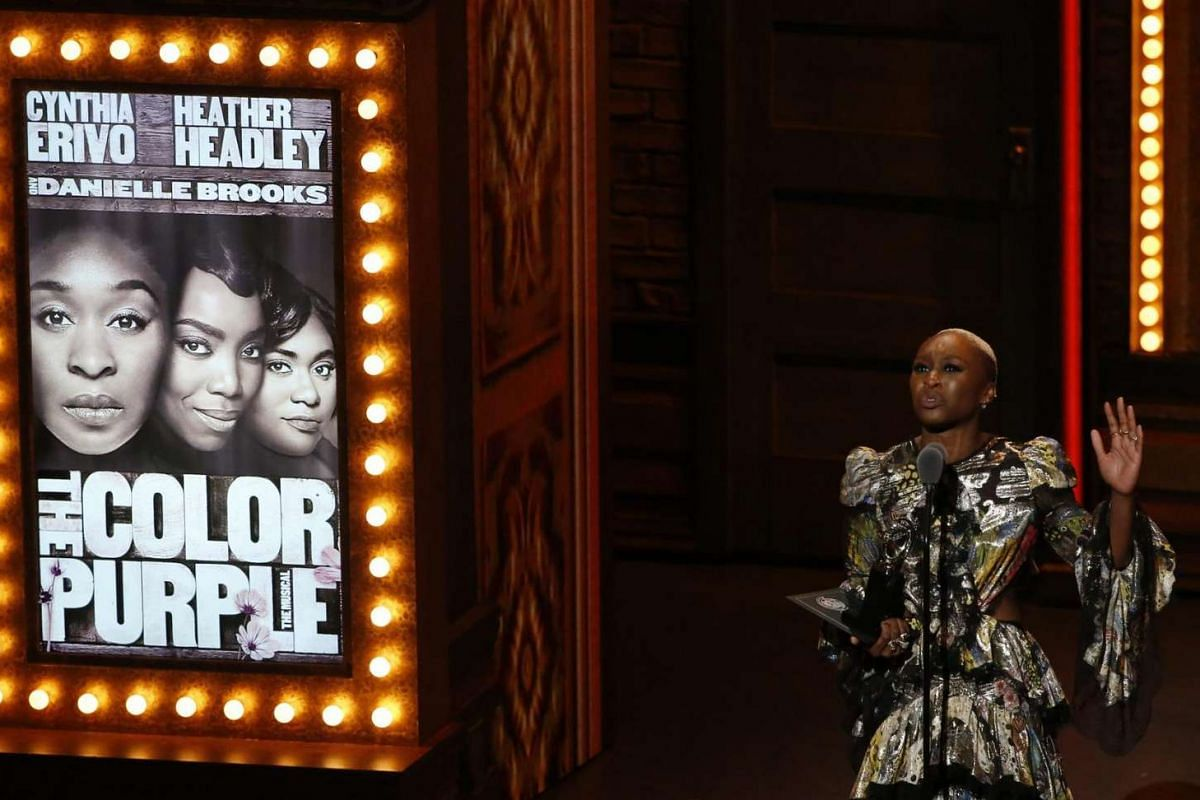 Cynthia Erivo accepts the award for best performance by an actress in a leading role in a musical for The Color Purple.