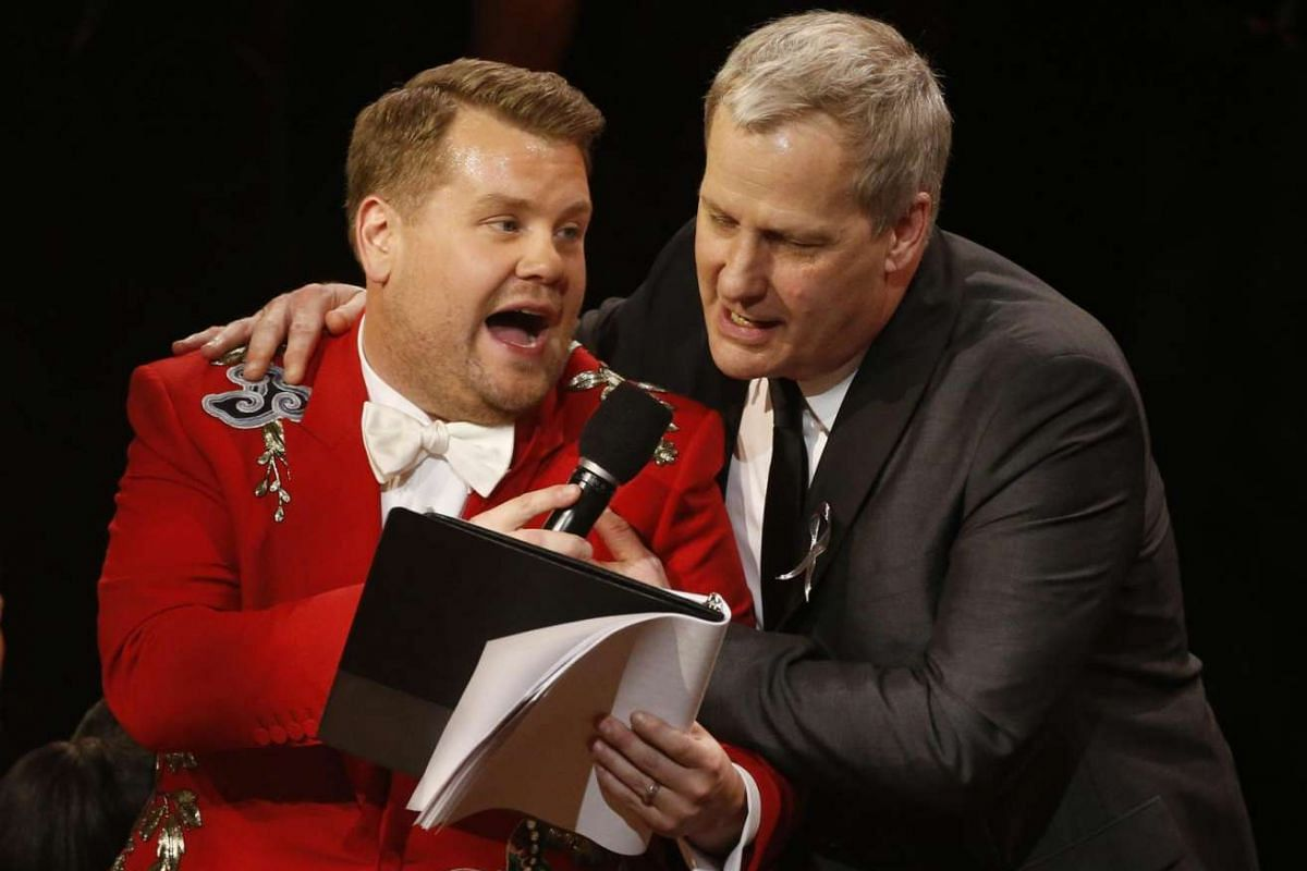 Actor Jeff Daniels (right) performs with show host James Corden during the Tony Awards.