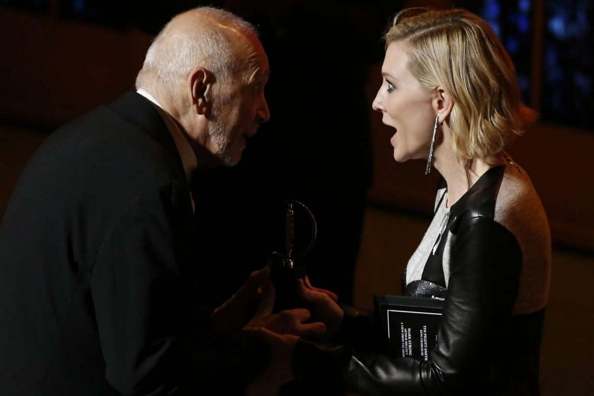 Cate Blanchett presents Frank Langella with the award for best performance by an actor in a leading role in a play for The Father.