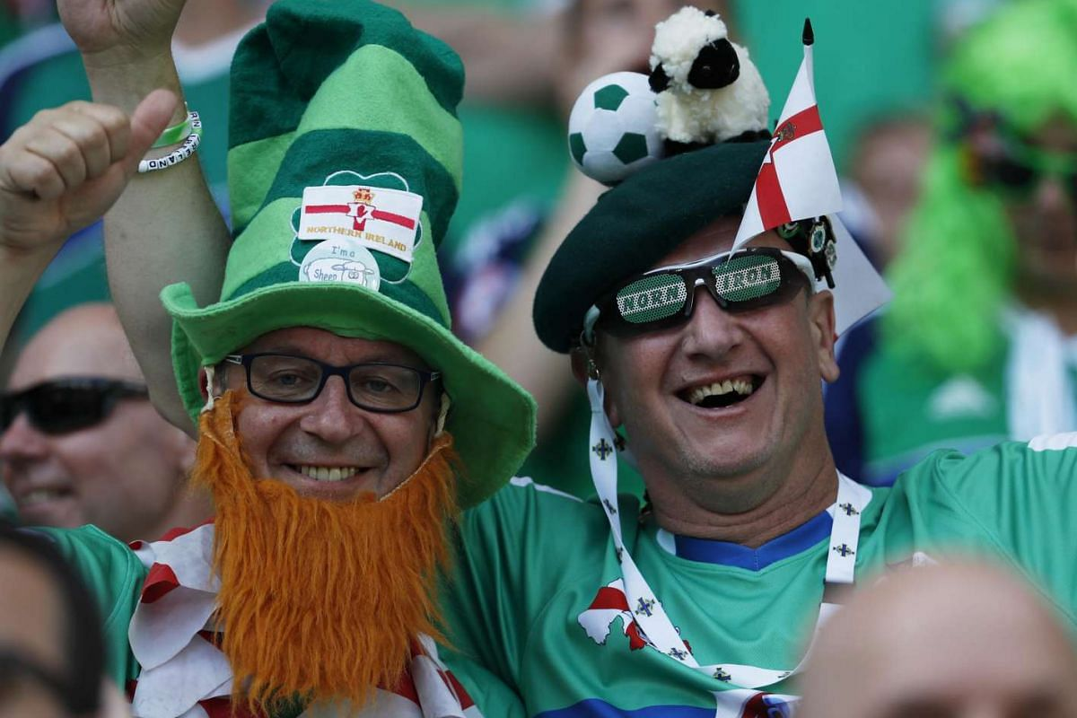 Northern Ireland fans ahead of Poland's match against Northern Ireland at the Euro 2016 football tournament at the Stade de Nice, Nice, France on June 12, 2016.