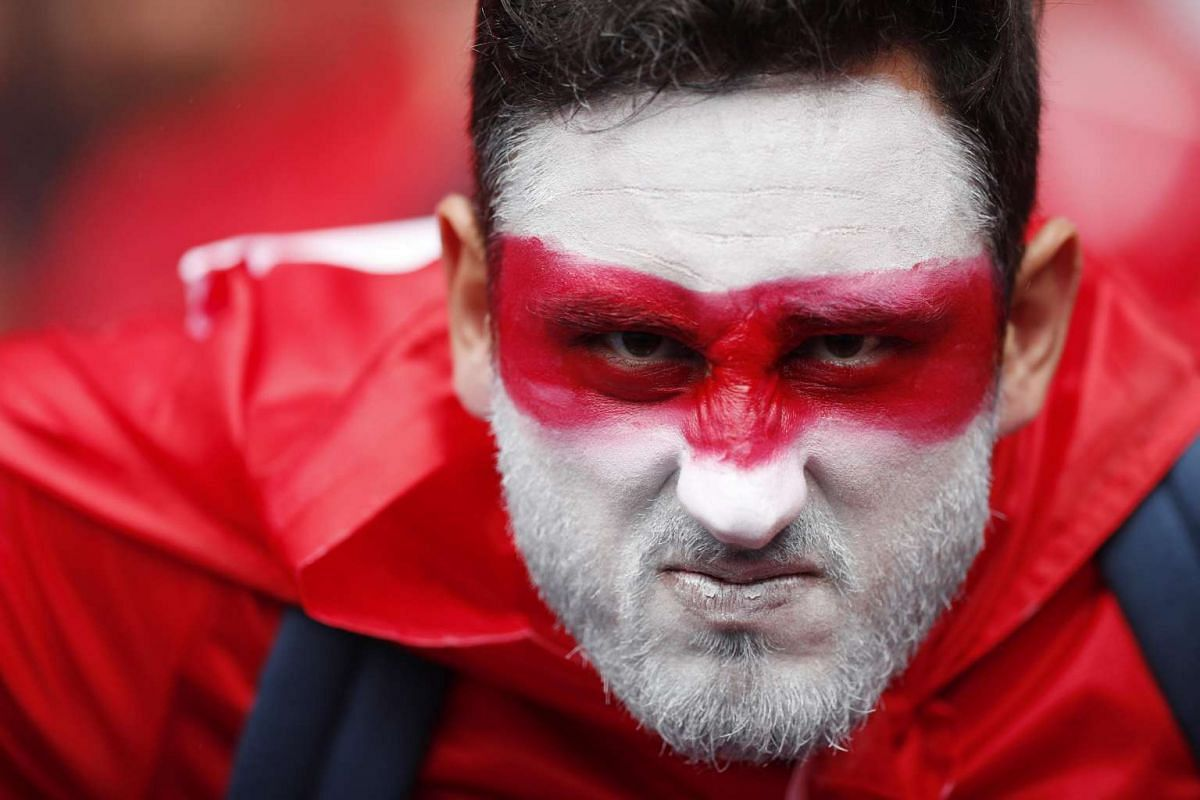 A Turkey fan with face paint, prior the Uefa Euro 2016 group D preliminary round match between Turkey and Croatia at Parc des Princes in Paris, France on June 12, 2016.