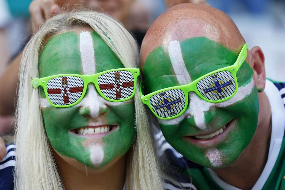 Northern Ireland fans ahead of Northern Ireland's match against  Poland at the Euro 2016 football tournament at the Stade de Nice, Nice, France on June 12, 2016.