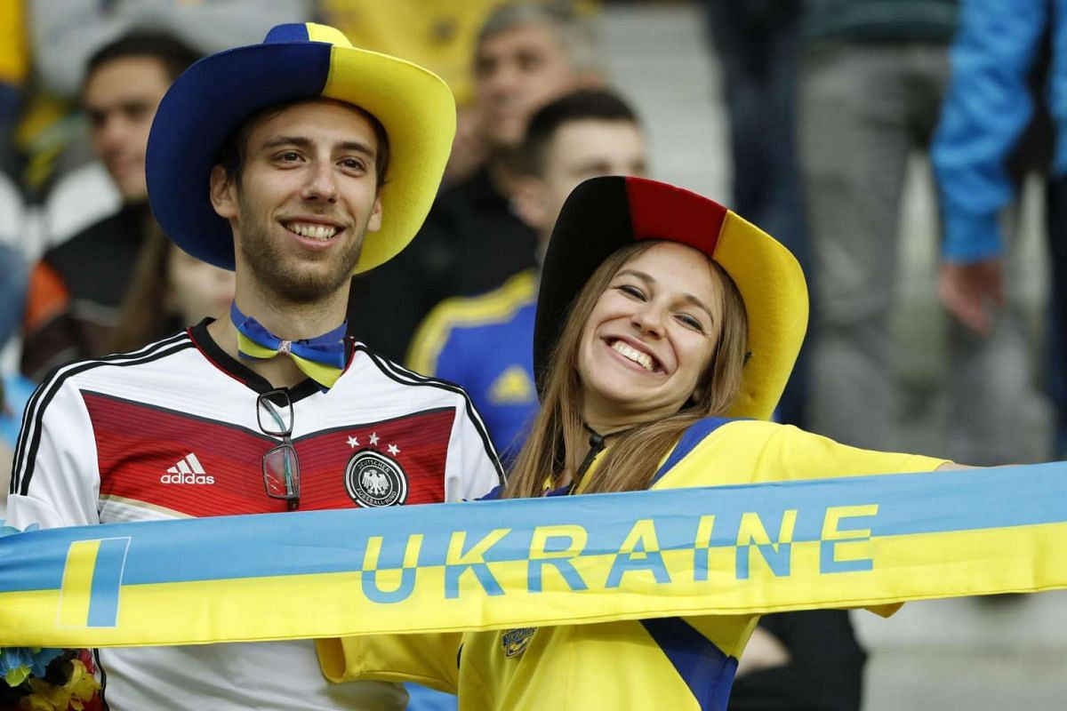 Germany and Ukraine fans before the Uefa Euro 2016 group C preliminary round match between Germany and Ukraine at Stade Pierre Mauroy in Lille Metropole, France on June 12, 2016.