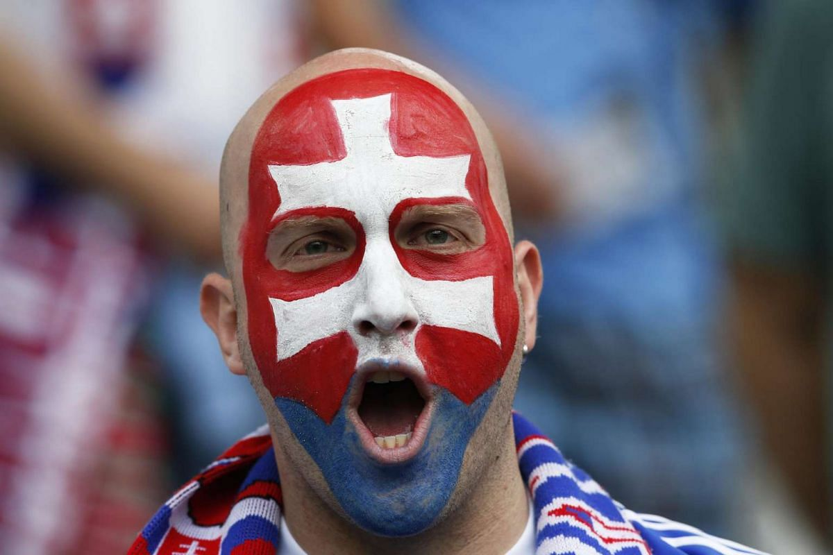 A Slovakian fan wearing face paint before the UEFA Euro 2016 group B preliminary round match between Wales and Slovakia at Stade de Bordeaux in Bordeaux, France on June 11, 2016.