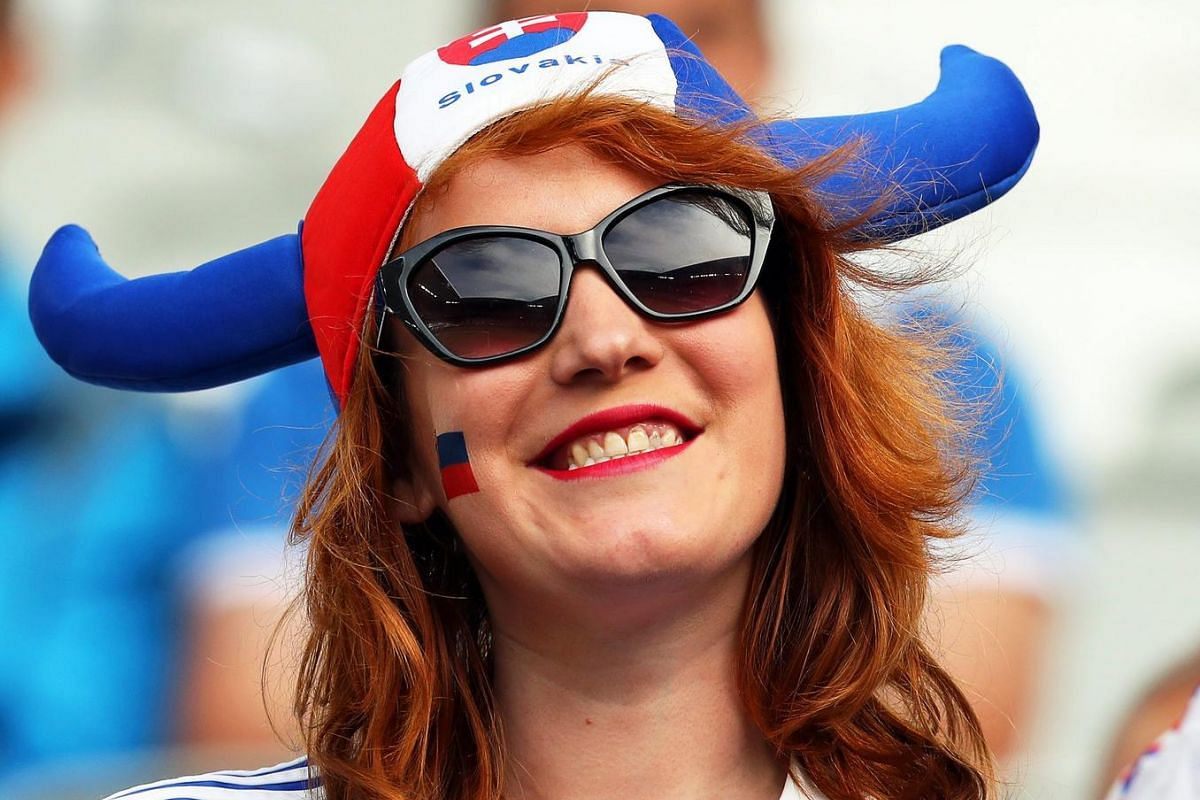A Slovakian fan smiles before the UEFA Euro 2016 group B preliminary round match between Wales and Slovakia at Stade de Bordeaux in Bordeaux, France on June 11, 2016.