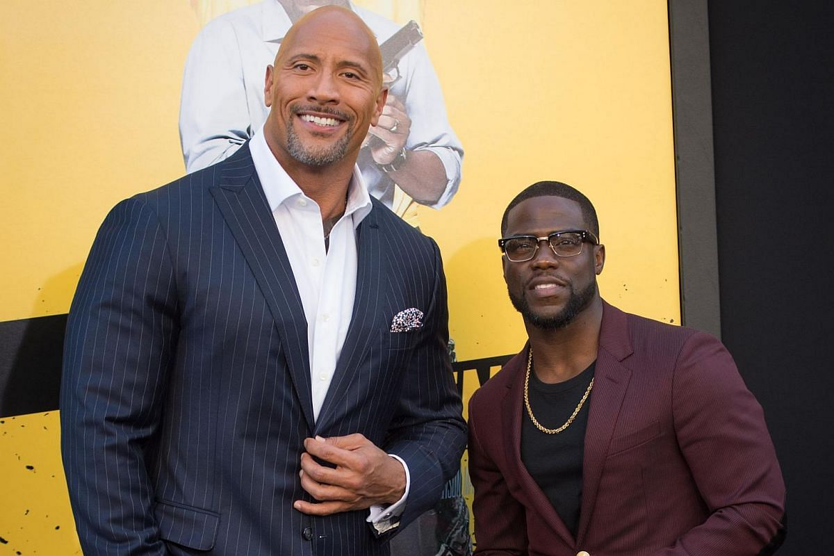 Stars Dwayne Johnson (left) and Kevin Hart attend the premiere of Warner Bros. Pictures' Central Intelligence at Westwood Village Theatre in California.