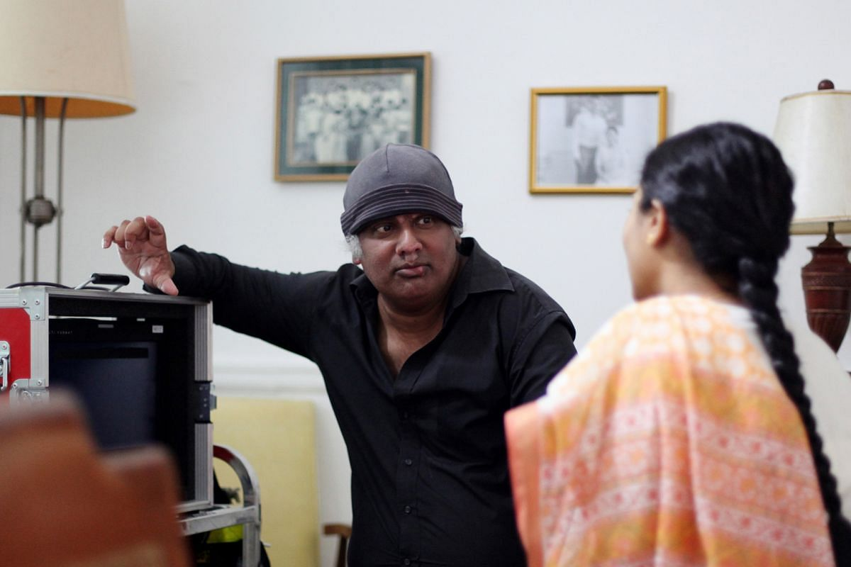 My life so far: On the set for the short film, The Flame, with actress Nithiya Rao (above).