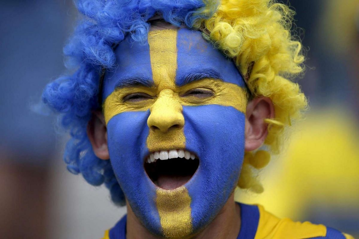 A Swedish fan prior the Uefa Euro 2016 Group E preliminary round match between Ireland and Sweden at Stade de France in Saint-Denis, on June 13, 2016.