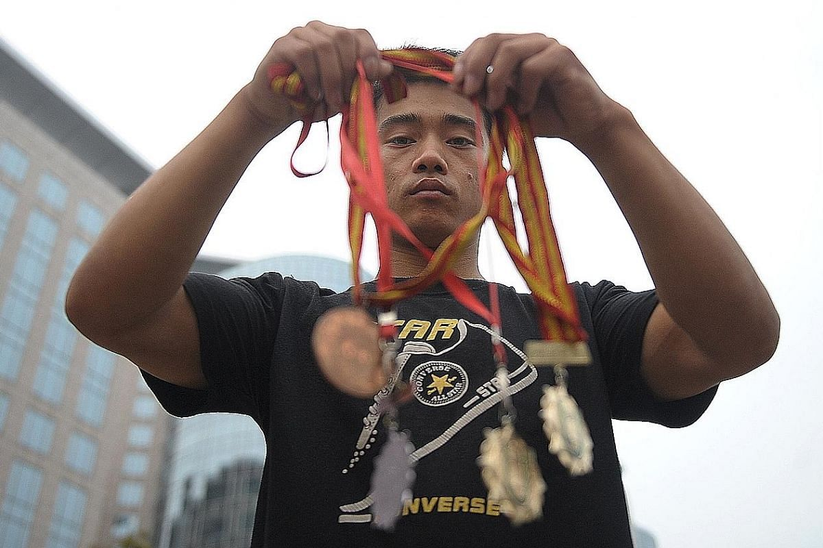 An injury cut short gymnast Zhang Shangwu's sporting career in 2002. He ended up living in the streets, performing acrobatics for handouts. Famous alumni of China's sports schools include (from top) basketball player Yao Ming, hurdler Liu Xiang, shut
