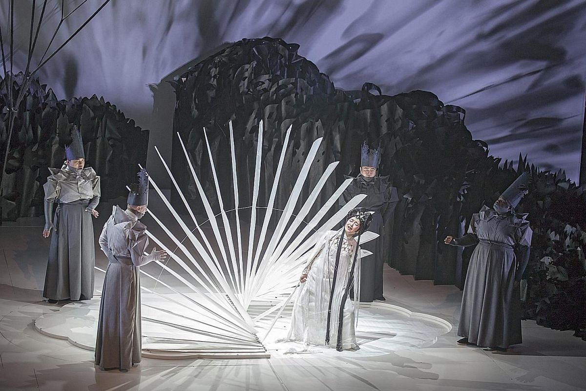 The one-act opera Paradise Interrupted, starring Kun opera star Qian Yi (above, in white), is directed by artist Jennifer Wen Ma.
