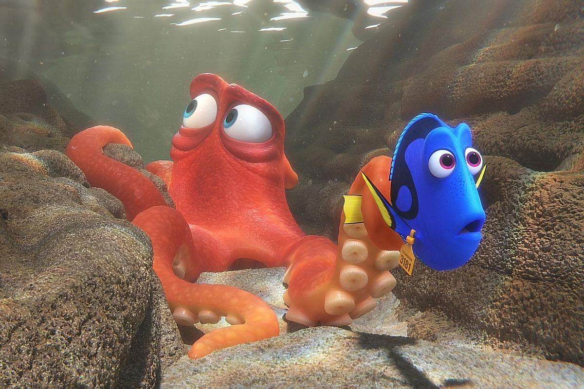 In Finding Dory (above), a lovable but forgetful blue tang fish called Dory (voiced by Ellen DeGeneres, with director Andrew Stanton) goes in search of her parents.