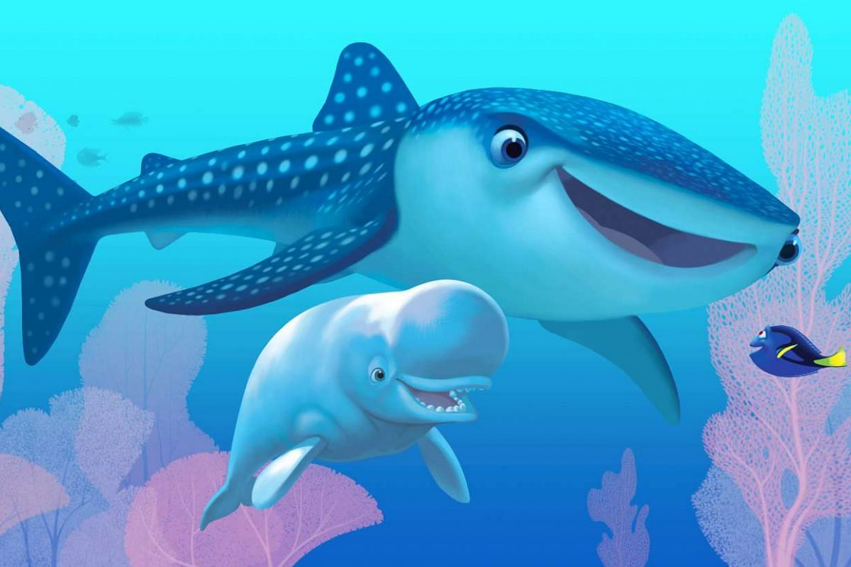 Finding Dory's Destiny the whale shark (Kaitlin Olson), Bailey the beluga whale (Ty Burrell) and blue tang fish Dory (Ellen DeGeneres).