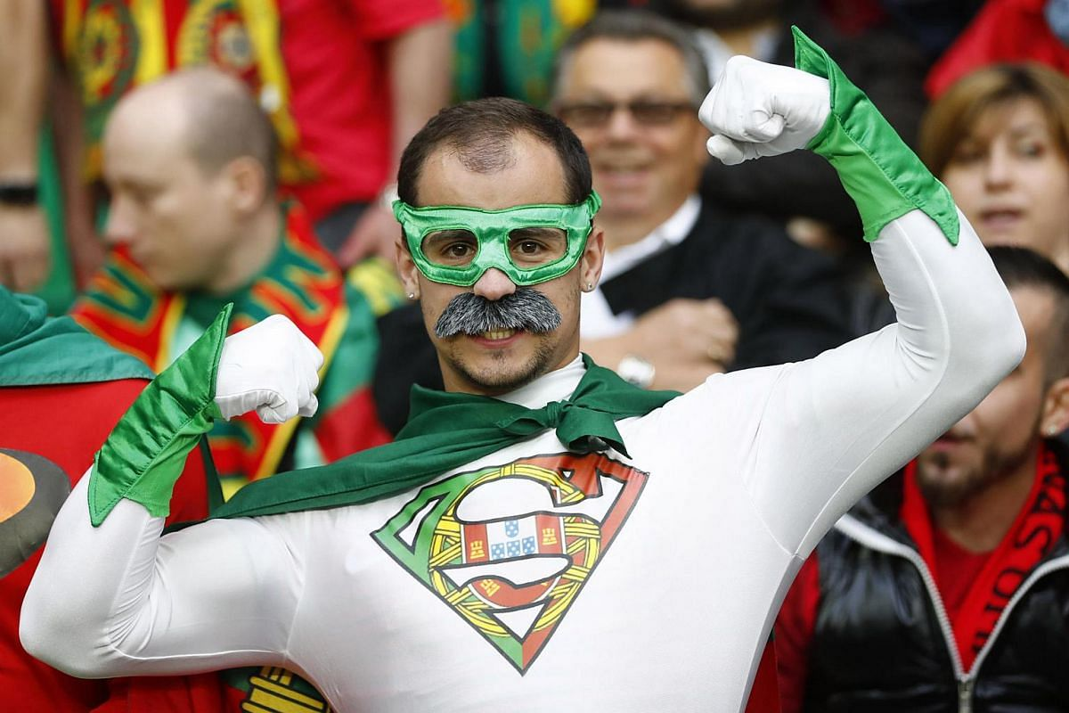 Portugal fans in fancy dress before the Euro 2016 game against Iceland on June 14.