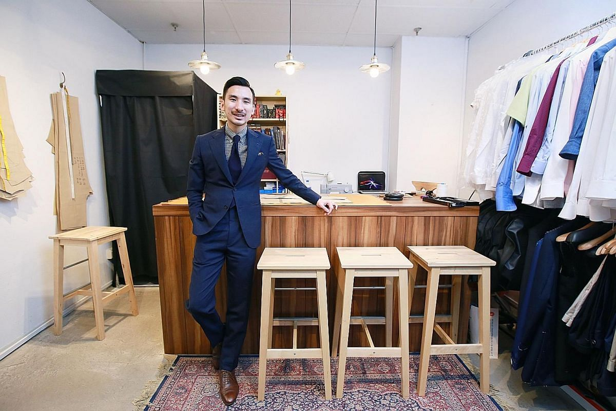 Kay-Jen's Matthew Lai works out of his 200 sq ft store in Golden Sultan Plaza. Top: Two-button suit with peak lapel made from wool and mohair ($1,850). Above: Wide-spread collared shirt in Egyptian cotton ($310).