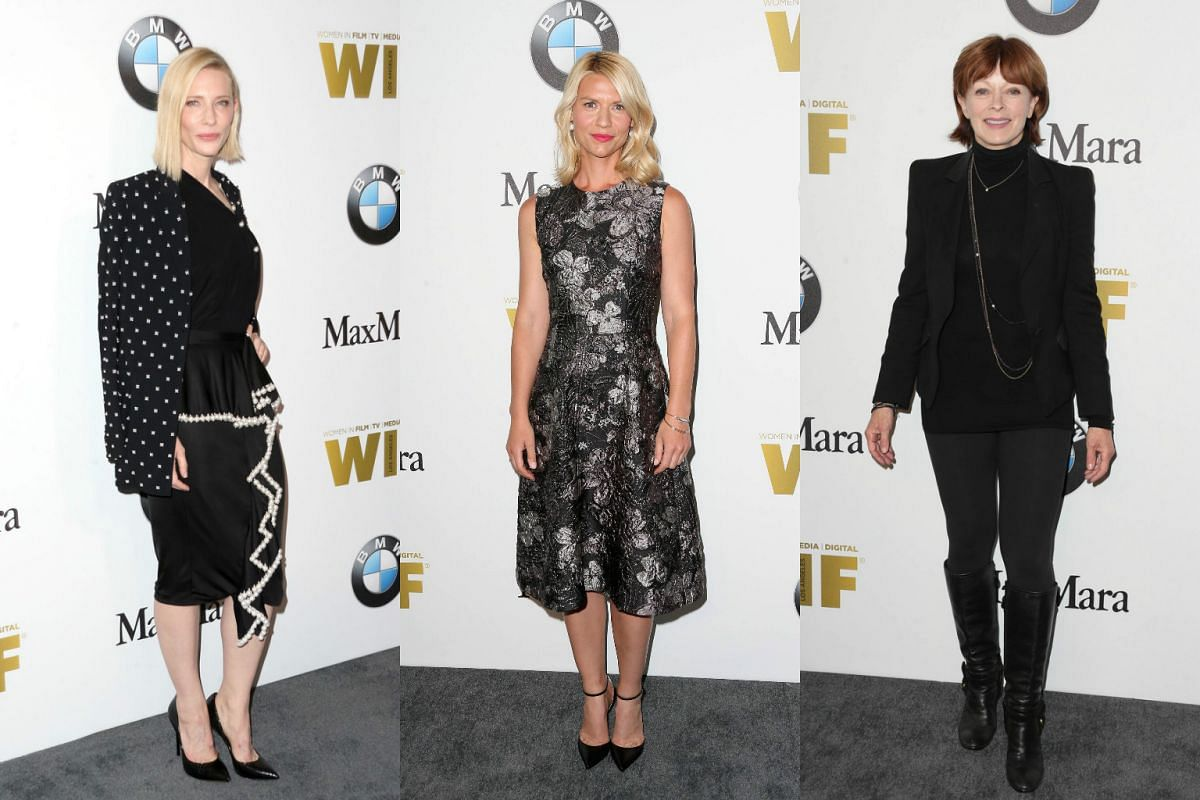 (From left) Actresses Cate Blanchett, Claire Danes and Frances Fisher seemed to have gotten the same memo about a black dress code.