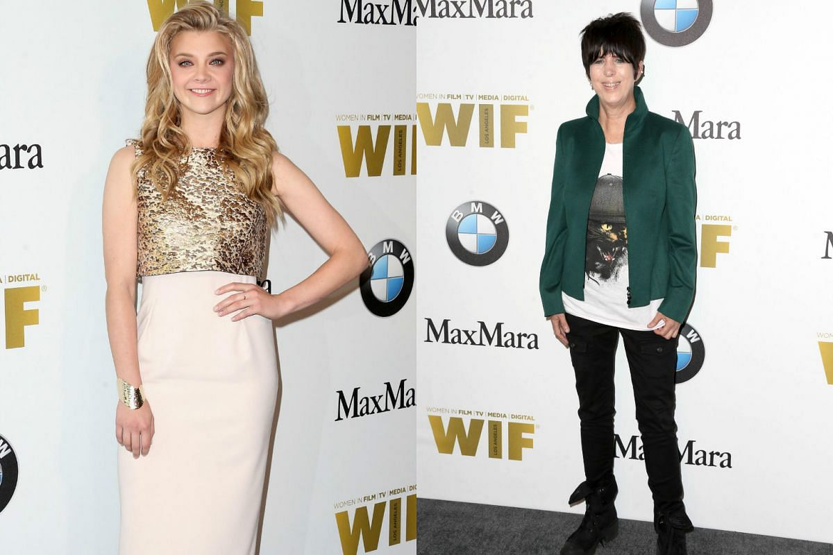 Actress Natalie Dormer (left), named Max Mara Face Of The Future, goes for gold in a dress with a shimmery top. While Songwriter Diane Warren (right) bucks the glam trend with a rocker chick outfit of denim and chunky boots.