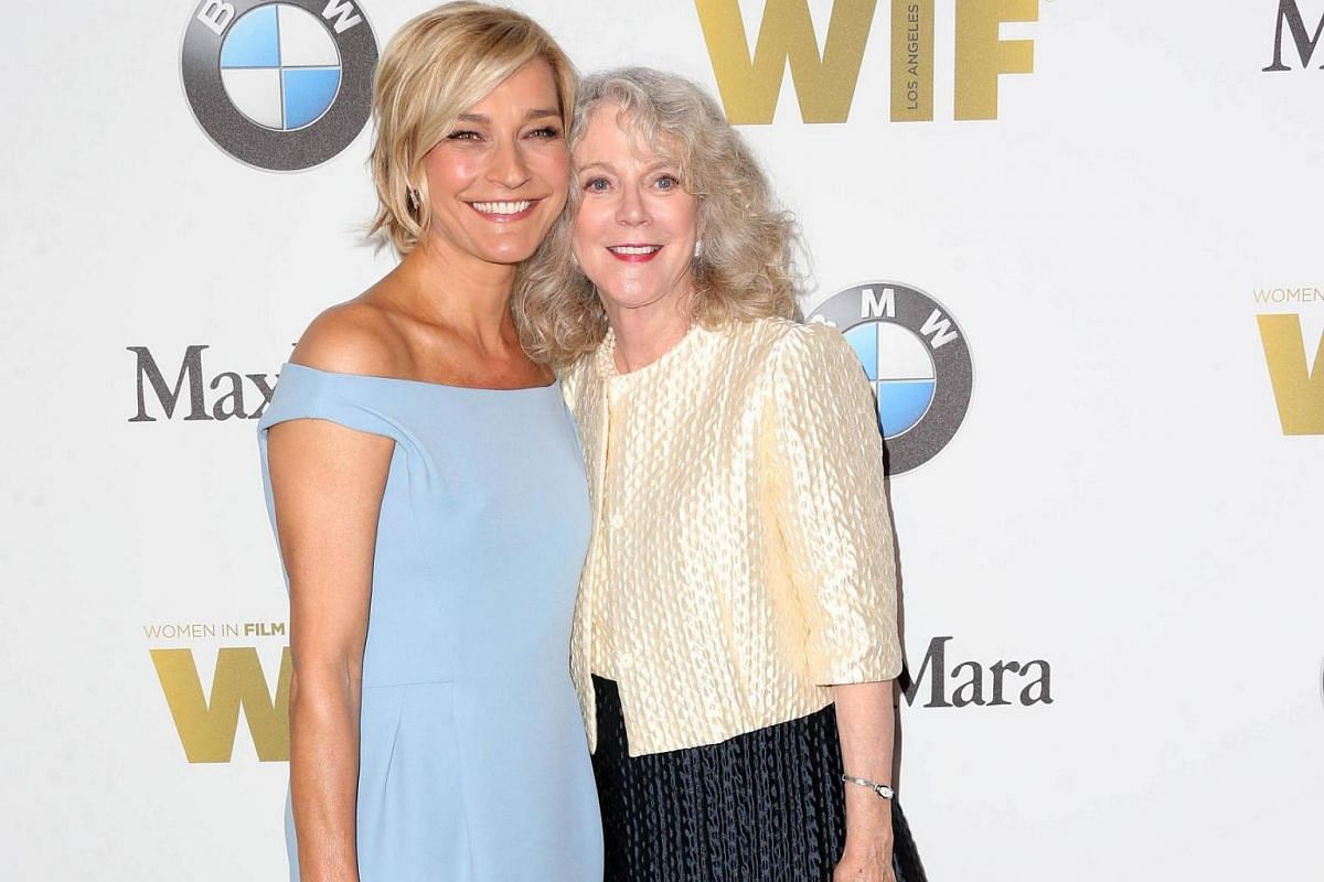 Max Mara Ownership and Brand Ambassador Nicola Maramotti (left) and actress Blythe Danner arrive for the Women In Film awards.