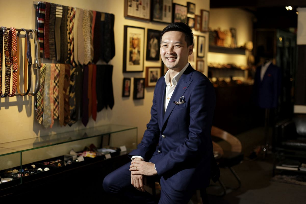 Q Menswear and q. menswear: Mr Chong Han San launched his bespoke label in 2011 and his ready-to-wear line in July last year.