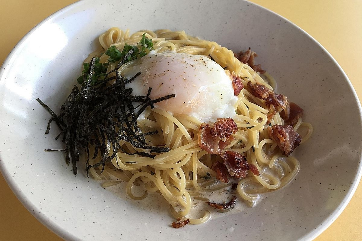 The Miso Carbonara With Onsen Egg (left).