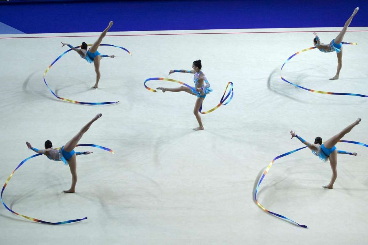 The team from Spain competes in the ribbon section of the Seniors Groups in the 32nd Rhythmic Gymnastics European Championships in Holon, Israel, on June 19, 2016.