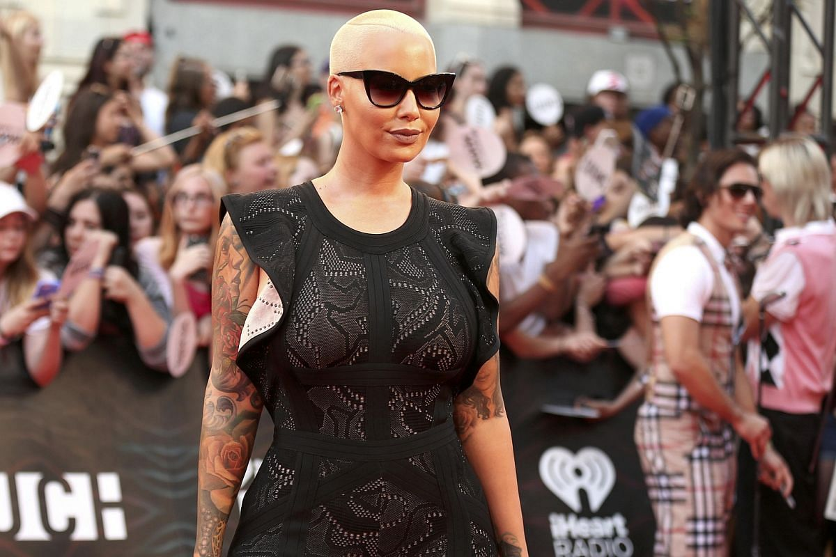 Model Amber Rose arrives for the iHeartRadio Much Music Video Awards in Toronto, Ontario, Canada on June 19.