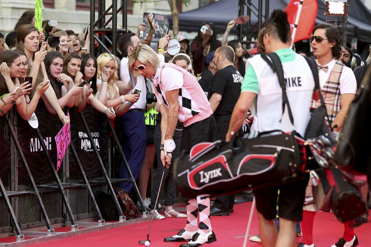 The band Marianas Trench arrives for the iHeartRadio Much Music Video Awards in Toronto, Ontario, Canada on June 19.