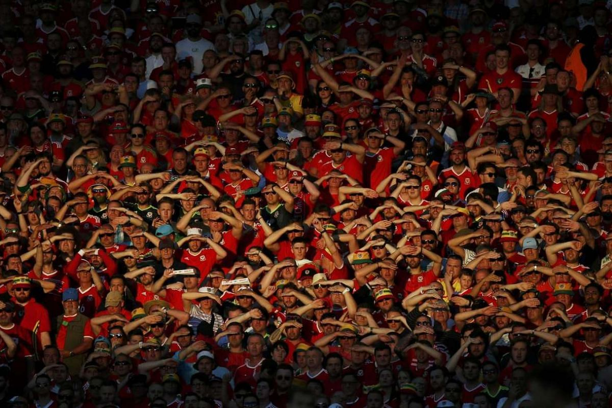 Wales' fans during the Euro 2016 Group B match between Russia and Wales at Stadium de Toulouse, in France, on June 20, 2016.