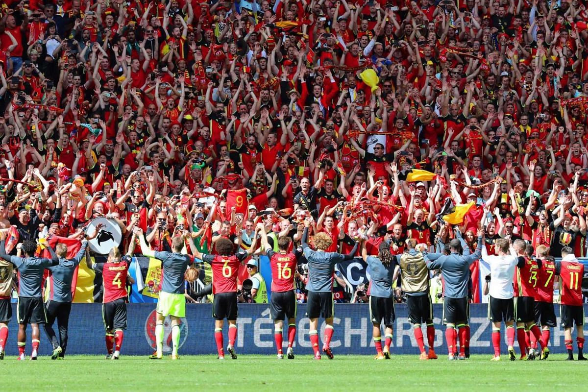 Players of Belgium celebrate with fans match between Belgium and Ireland on June 18, 2016.