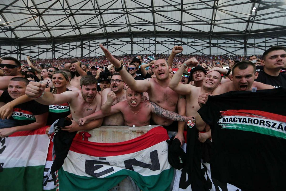 Hungary fans celebrate after the game on June 18, 2016.