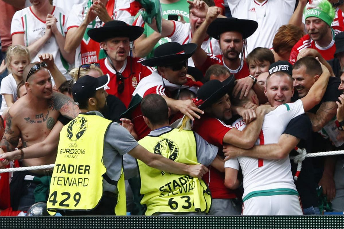 Hungary's Balazs Dzsudzsak celebrates with fans after the game on June 18, 2016.