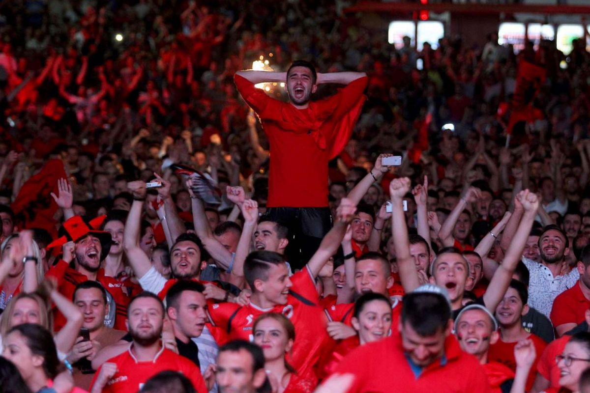 Albania fans react during the match between Albania and Romania on July 19, 2016.