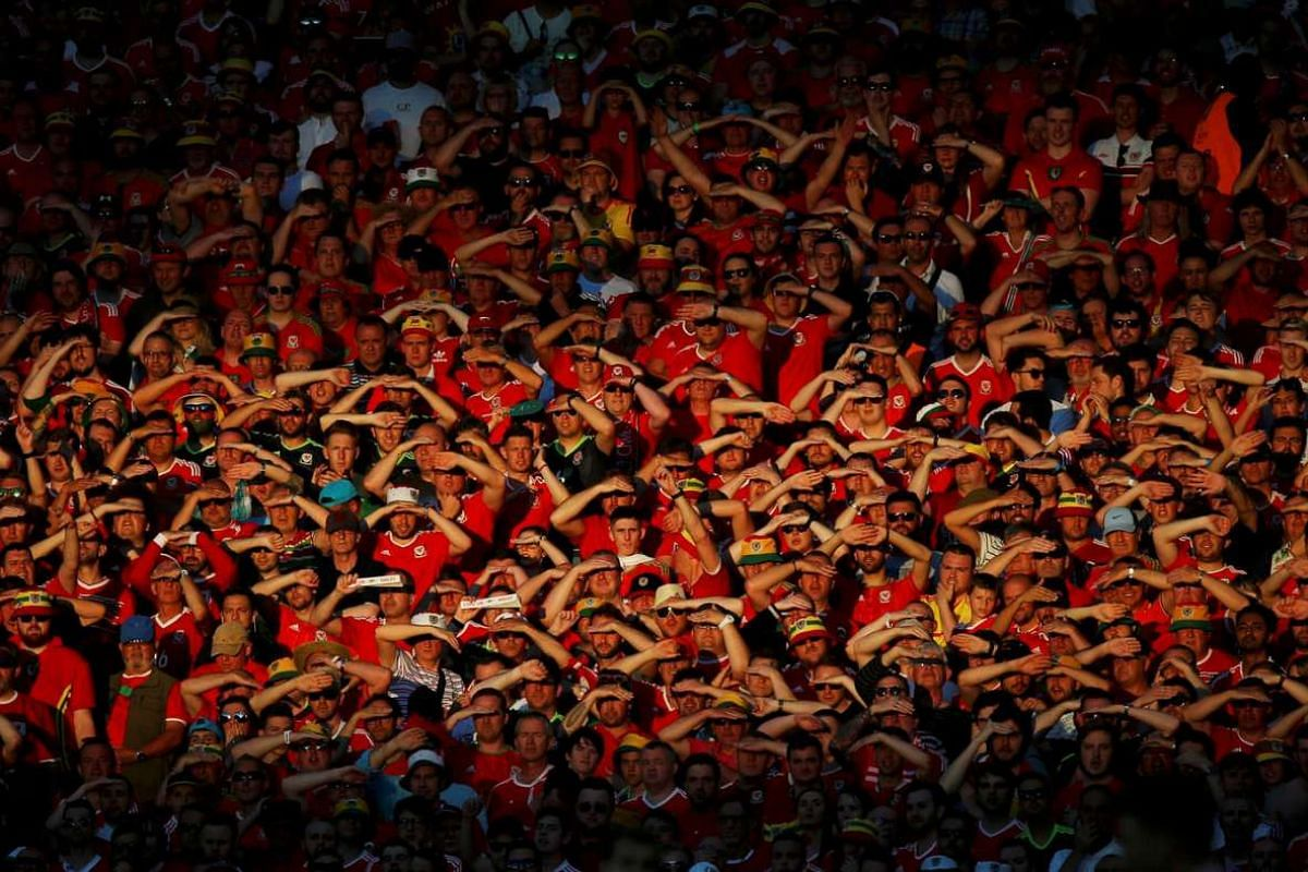 Wales' fans during the match between Russia and Wales on June 20, 2016.