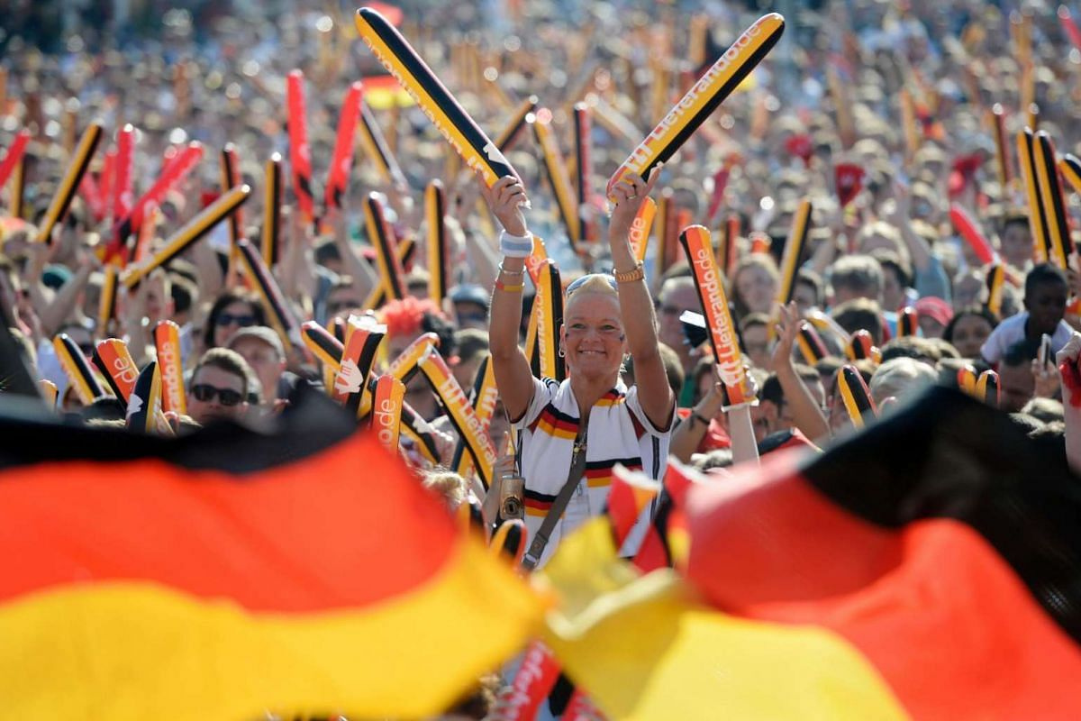 German supporters following the match between Northern Ireland and Germany on June 21, 2016.